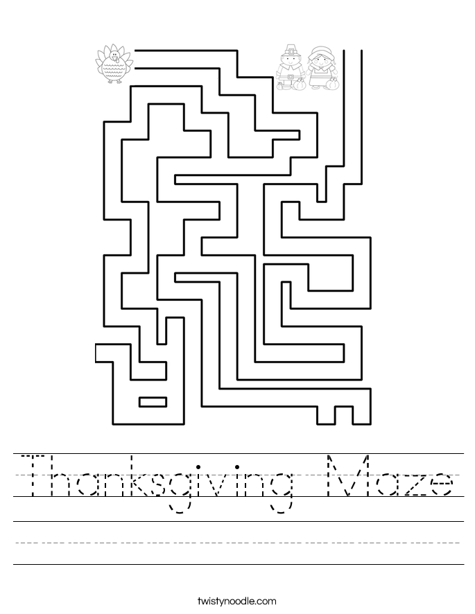 Thanksgiving Maze Worksheet