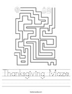 Thanksgiving Maze Handwriting Sheet