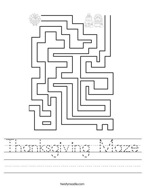 Thanksgiving Maze Worksheet