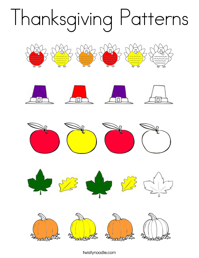 Thanksgiving Patterns Coloring Page