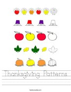 Thanksgiving Patterns Handwriting Sheet