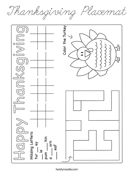 Thanksgiving Placemat Coloring Page