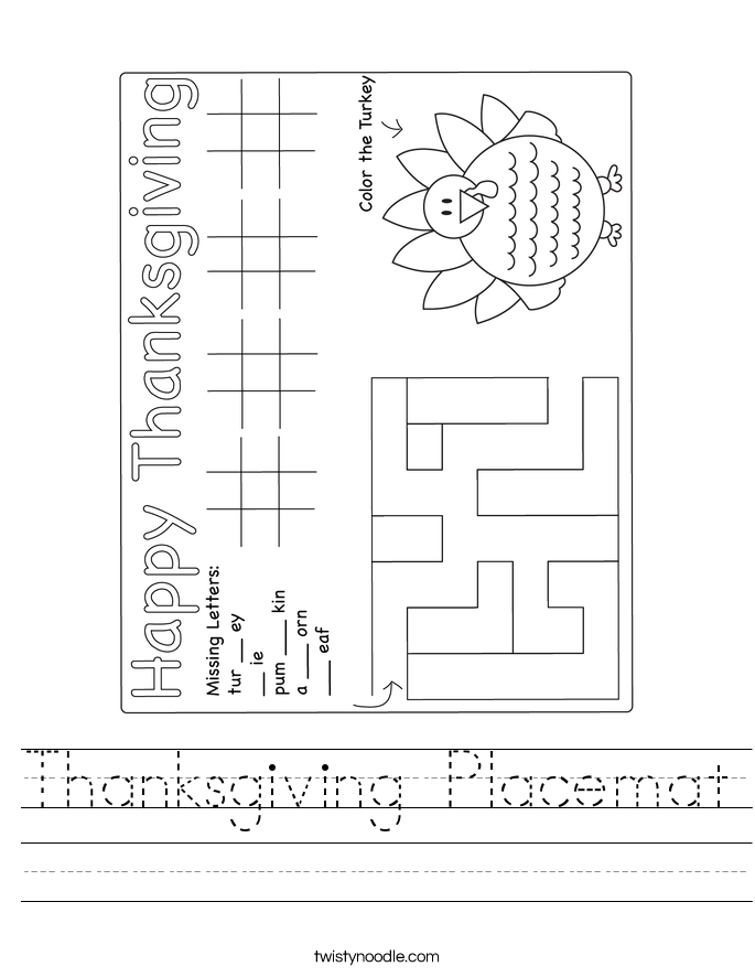 Thanksgiving Placemat Worksheet