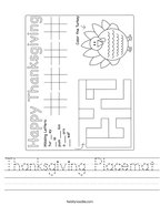 Thanksgiving Placemat Handwriting Sheet