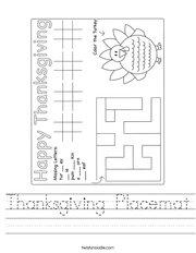 Thanksgiving Placemat Handwriting Sheet