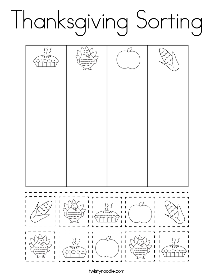 Thanksgiving Sorting Coloring Page