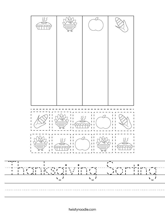 Thanksgiving Sorting Worksheet