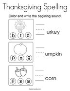 Thanksgiving Spelling Coloring Page