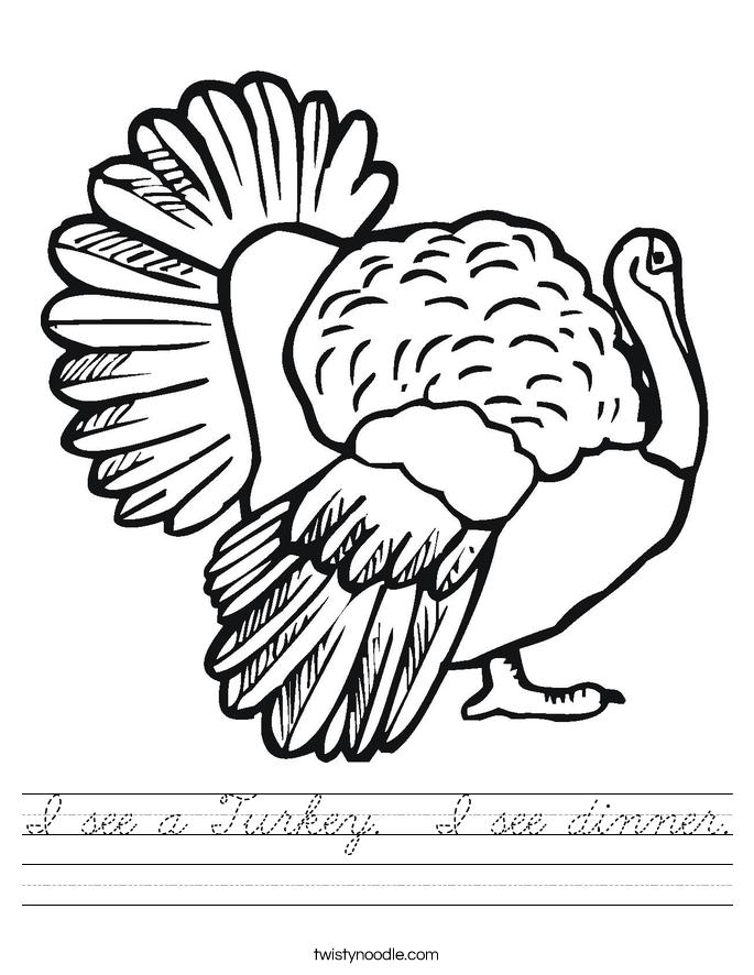 I see a Turkey.  I see dinner. Worksheet