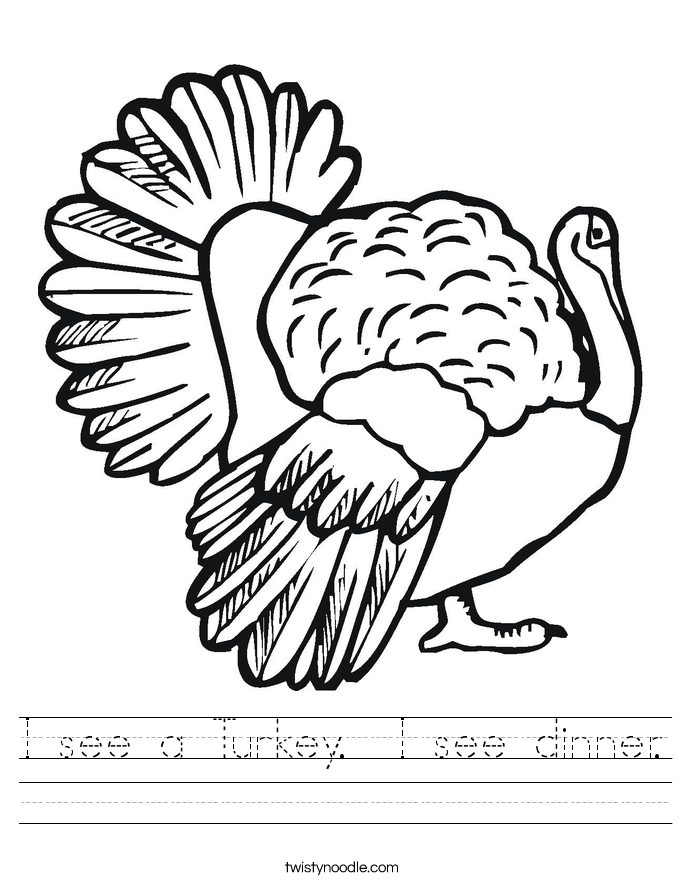 I see a Turkey.  I see dinner. Worksheet