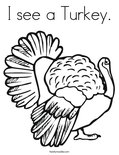 I see a Turkey. Coloring Page