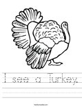 I see a Turkey. Worksheet