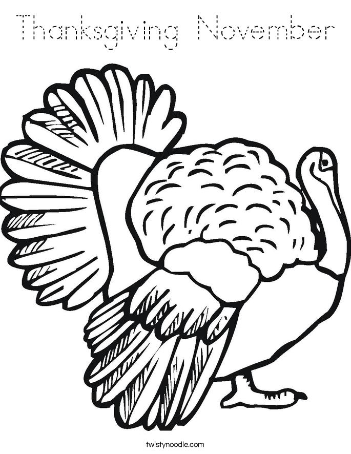 Thanksgiving November Coloring Page