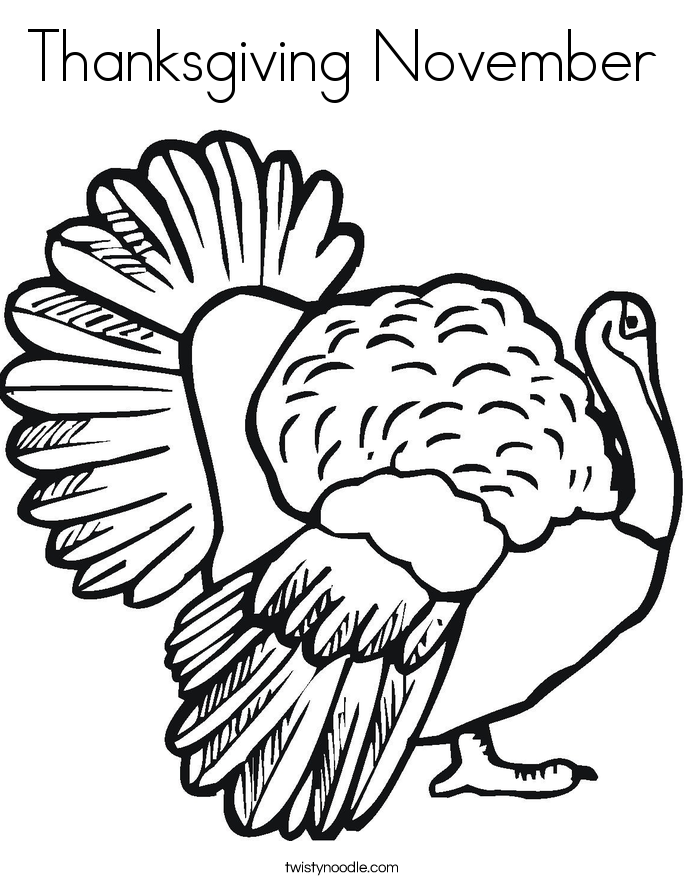 Thanksgiving November Coloring Page