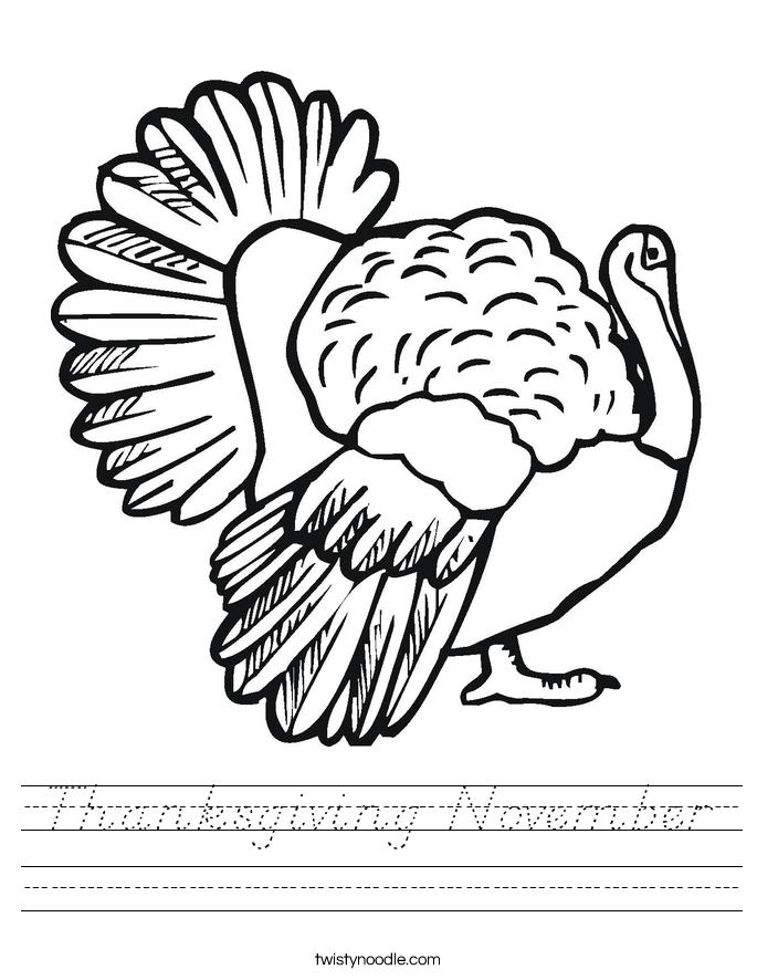 Thanksgiving November Worksheet
