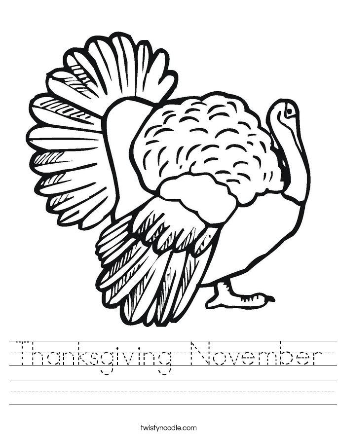 Thanksgiving November Worksheet