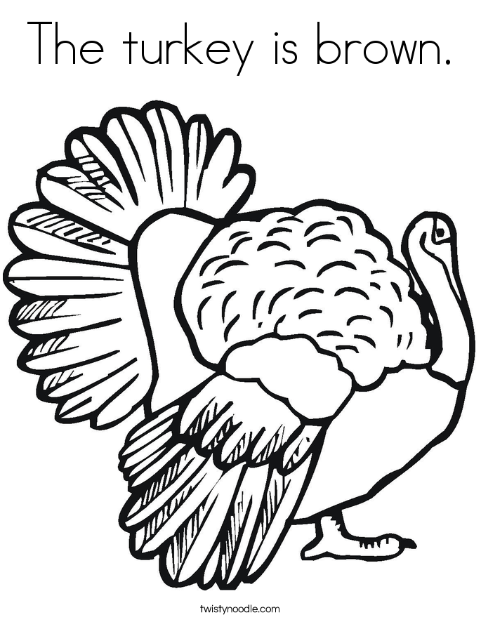 The Turkey Is Brown Coloring Page Twisty Noodle Brown Coloring Pages