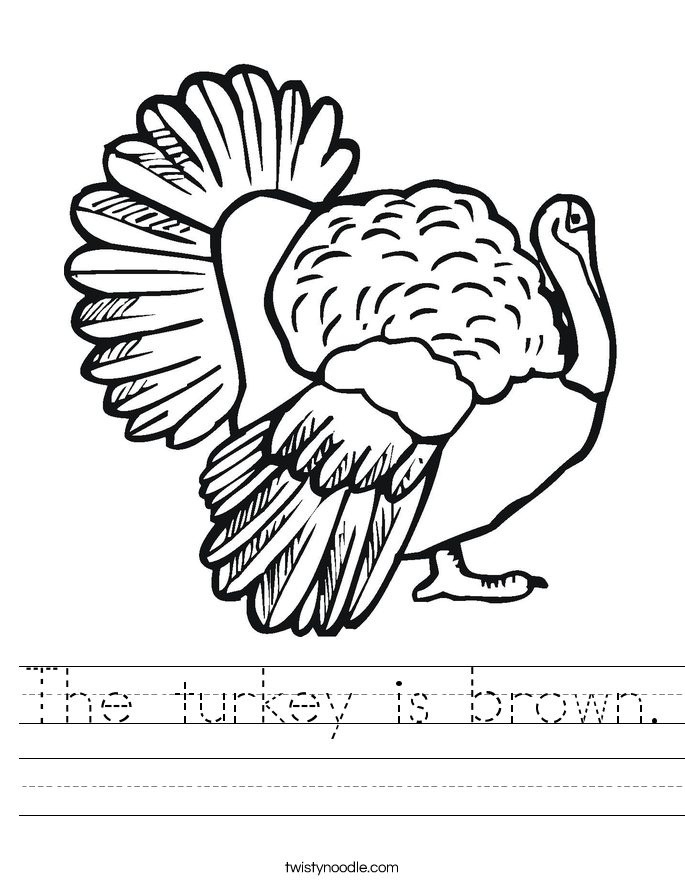 The turkey is brown. Worksheet