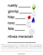 Thanksgiving Word Scramble Handwriting Sheet