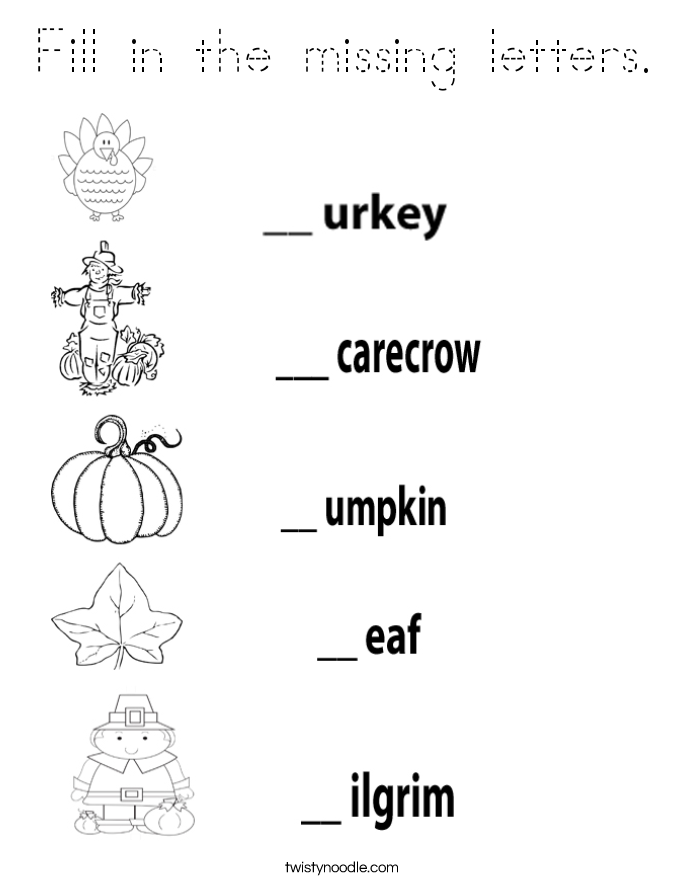 Fill in the missing letters. Coloring Page