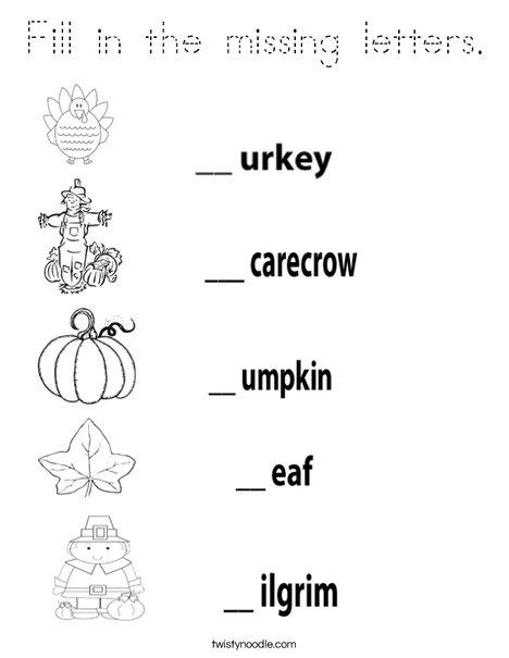 Thanksgiving Worksheet Coloring Page