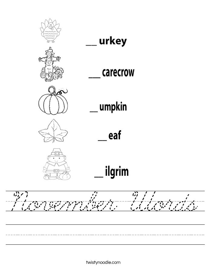 November Words Worksheet