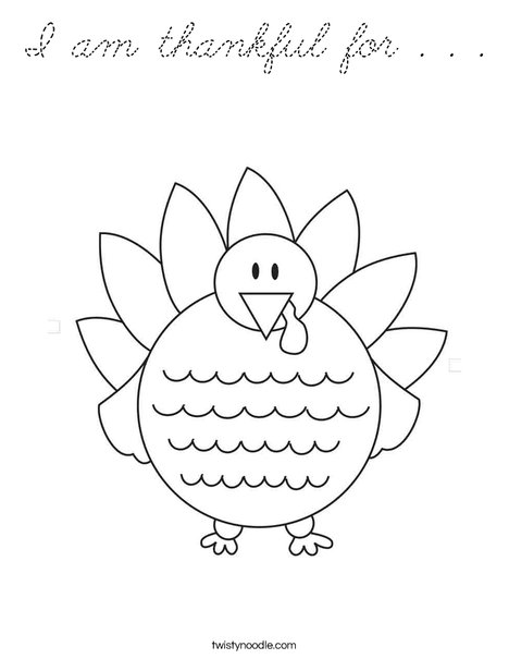 I am thankful for coloring page cursive twisty noodle for I am thankful for turkey coloring page