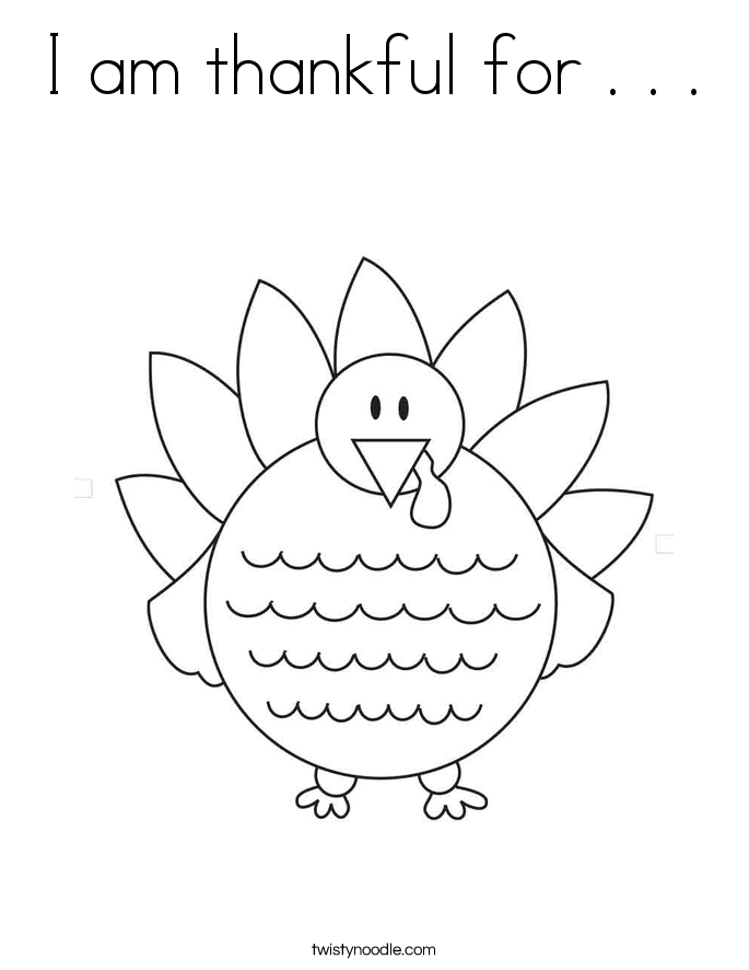 I am thankful for . . . Coloring Page