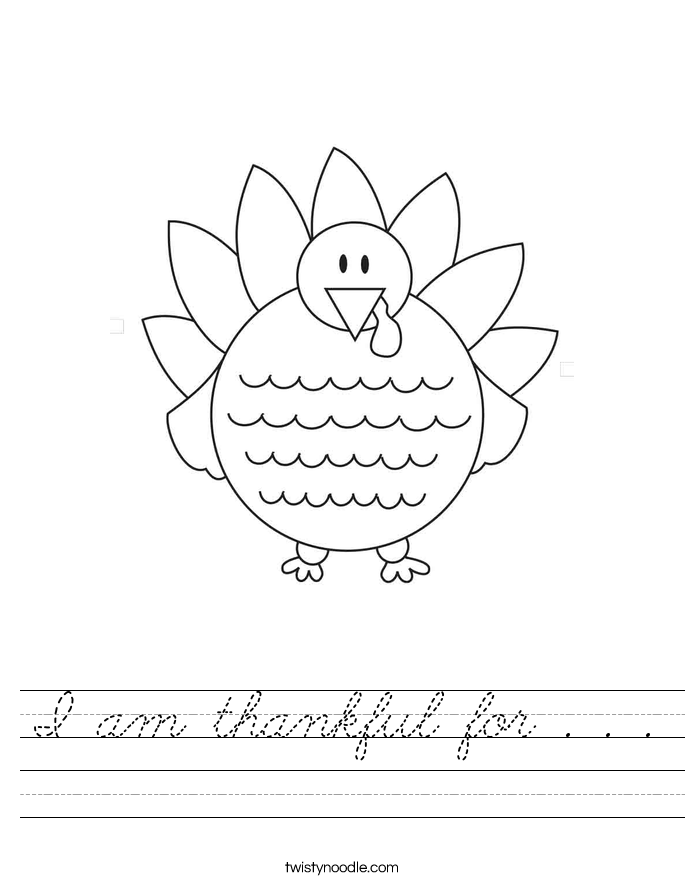 I am thankful for . . . Worksheet