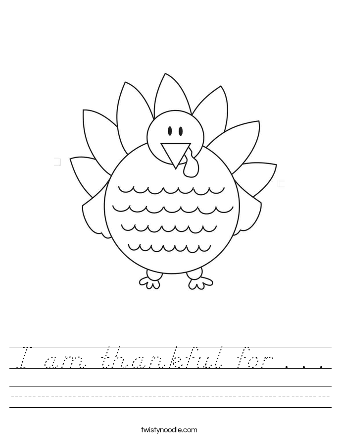 I am thankful for . . . Worksheet