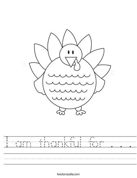 Thanksgiving Coloring Worksheet : I am thankful for worksheet twisty noodle