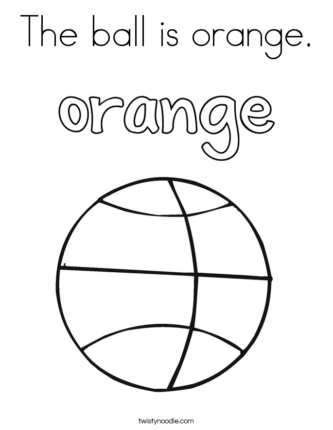 The ball is orange. Coloring Page