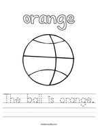 The ball is orange Handwriting Sheet
