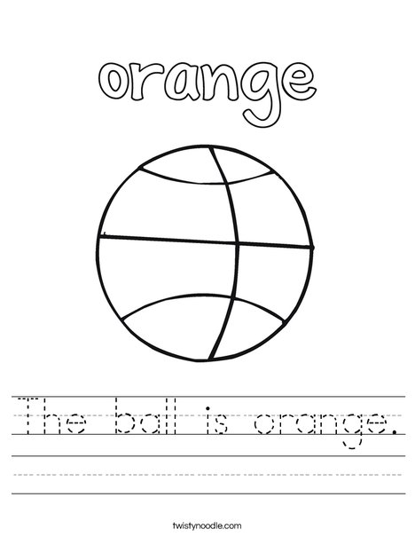 The ball is orange. Worksheet