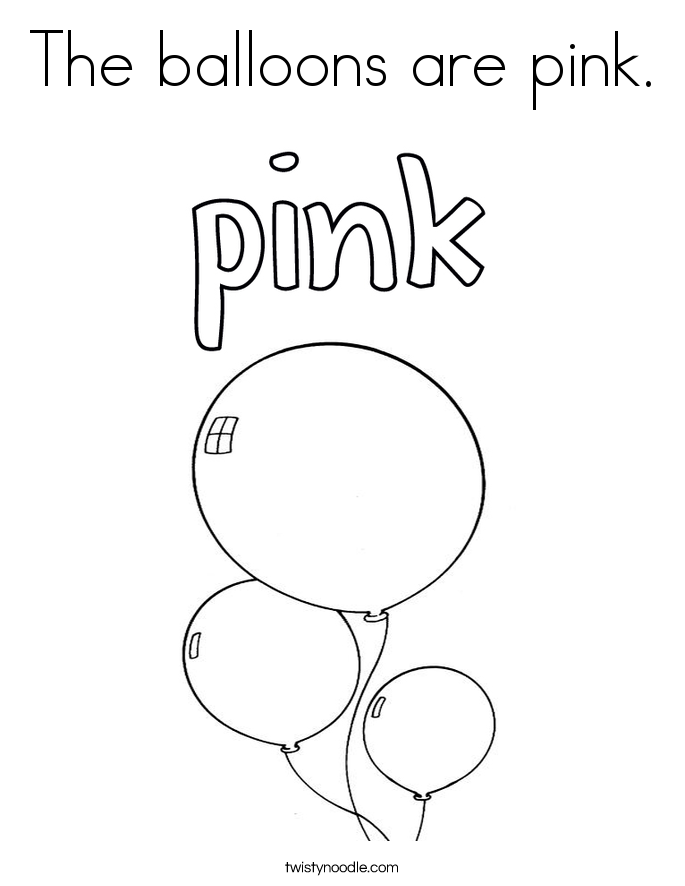 The balloons are pink. Coloring Page