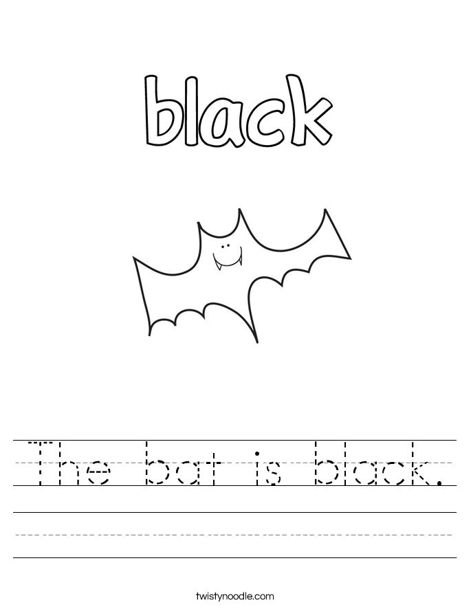 The bat is black. Worksheet
