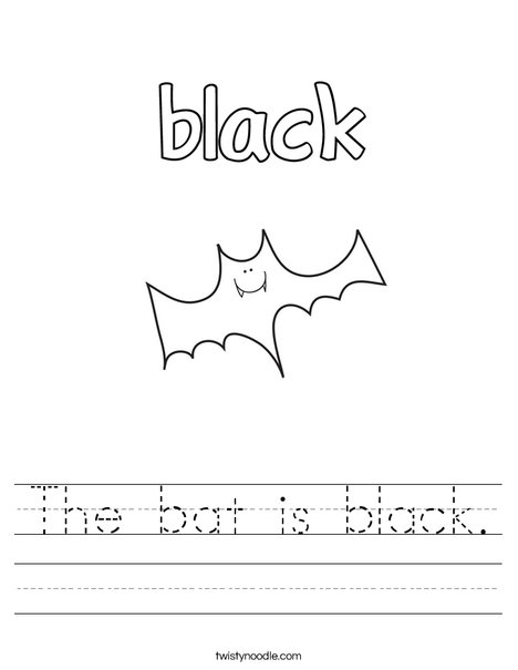 The bat is black. Worksheet