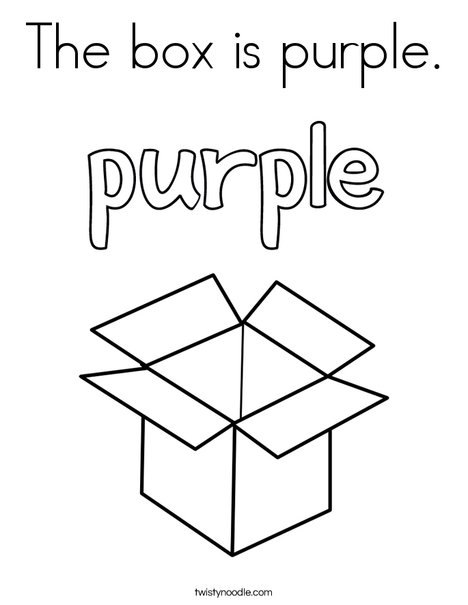 The box is purple. Coloring Page