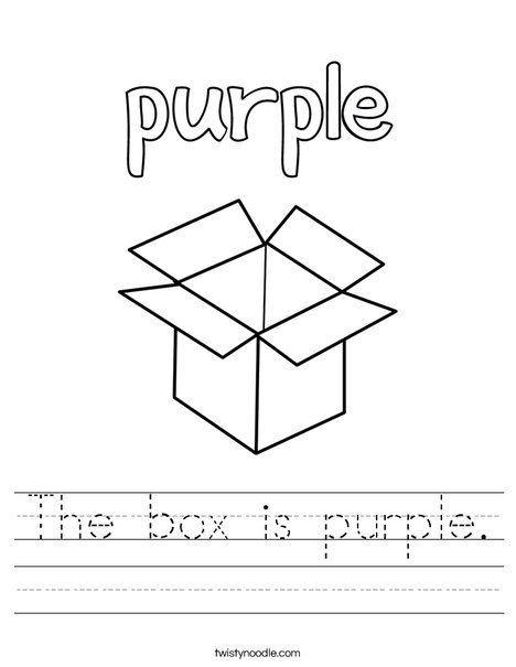 The box is purple. Worksheet