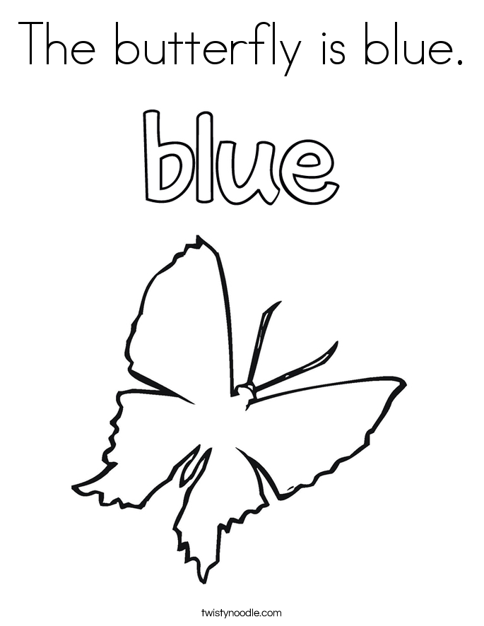 The butterfly is blue. Coloring Page
