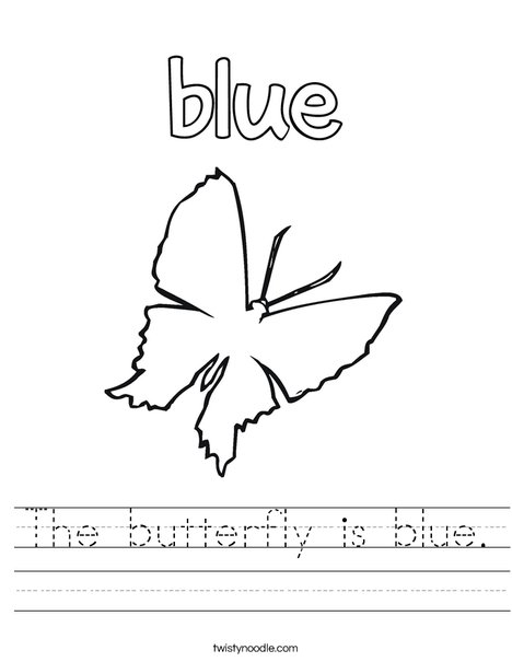 The butterfly is blue. Worksheet