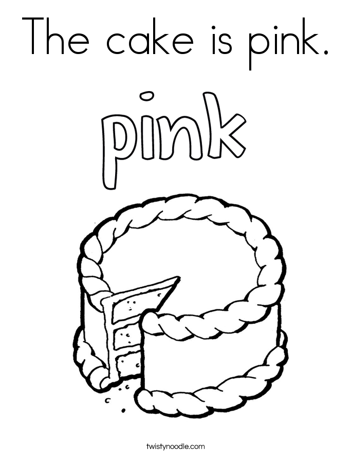 The cake is pink. Coloring Page
