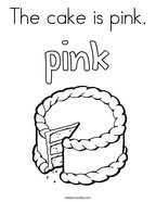 The cake is pink Coloring Page