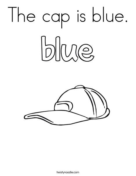 The cap is blue. Coloring Page