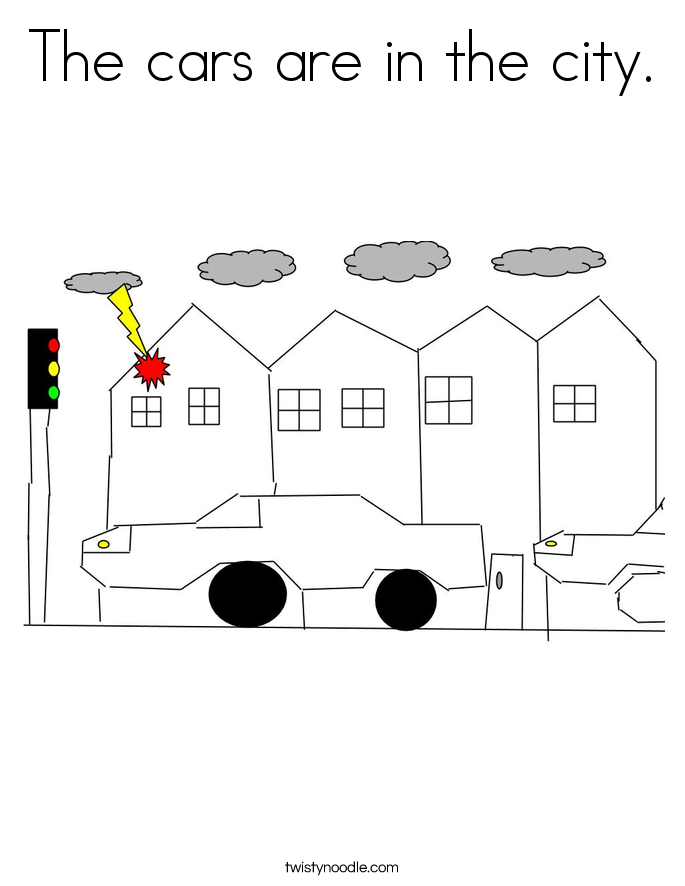 The cars are in the city. Coloring Page