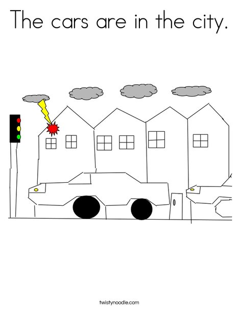 The Cars in the city Coloring Page
