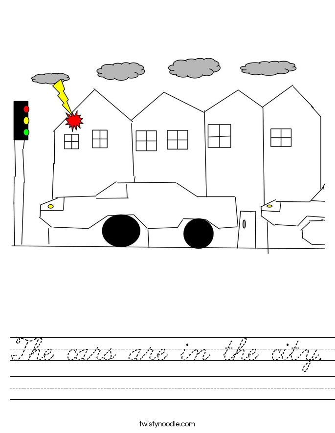 The cars are in the city. Worksheet