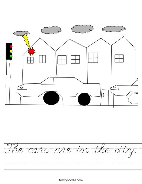The Cars in the city Worksheet
