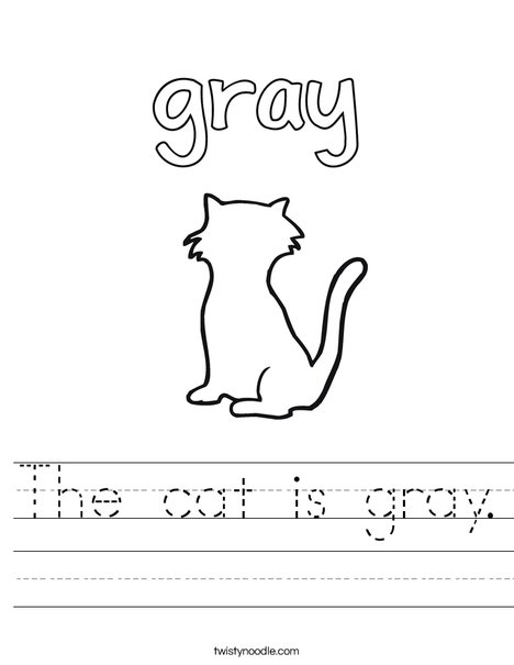 The cat is gray. Worksheet