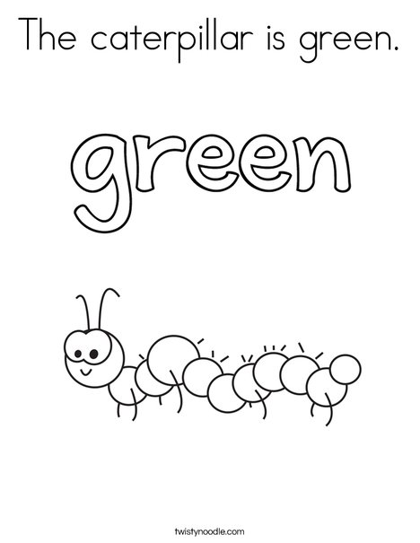 The caterpillar is green. Coloring Page